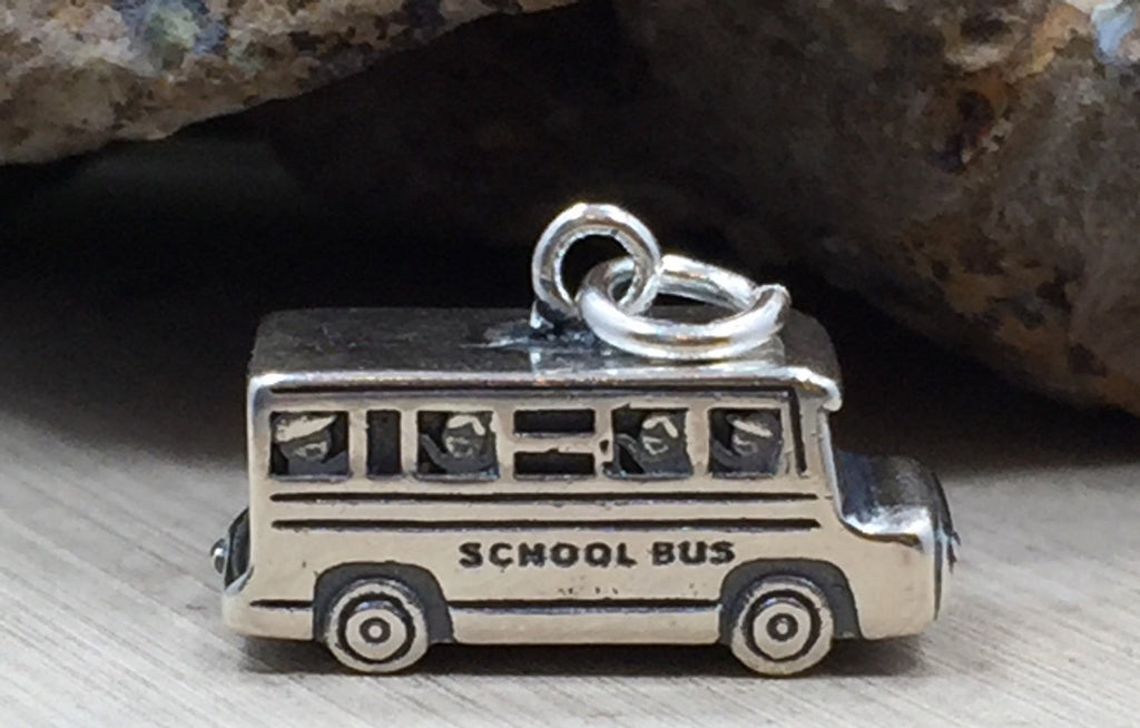 School Bus Charm, School Bus Pendant, Vehicle Charm, Car Collector Charm, Teacher Charm, Bus Driver Charm, School Charm, Sterling Silver