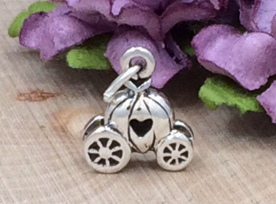 Pumpkin Carriage with Heart Charm, Carriage Charm, Princess Charm, Princess Pendant, Pumpkin Carriage Charm, Sterling Silver Charm, PS1430