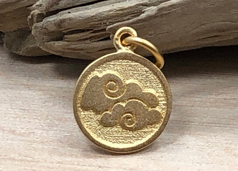 Four Elements Charm, Elements Charm, Air Element Charm, Gold Vermeil Plated Sterling Silver Charm