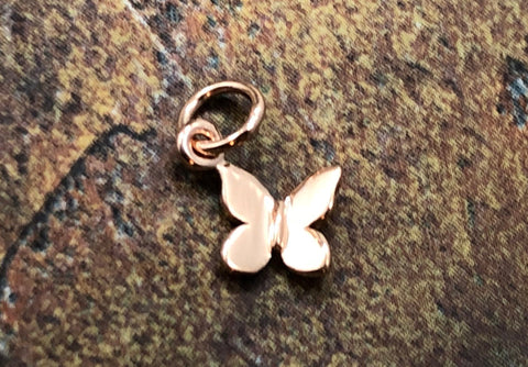 Butterfly Charm, Butterfly Pendant, Rose Gold Plated Sterling Silver Butterfly Charm, Jewelry Supplies, TINY Butterfly Charm, 1 Piece