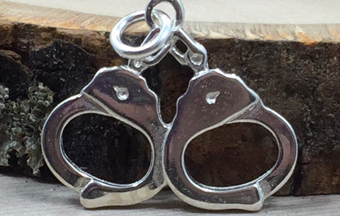 Handcuffs Charm, Police Charm, Police Handcuffs, Sterling Silver Charm, Sterling Silver Pendant, PS31109