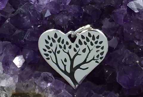 Heart Cut Out with Etched Tree of Life, Tree Heart Charm, Tree of Life Charm, Family Tree Charm, Sterling Silver, PS01437
