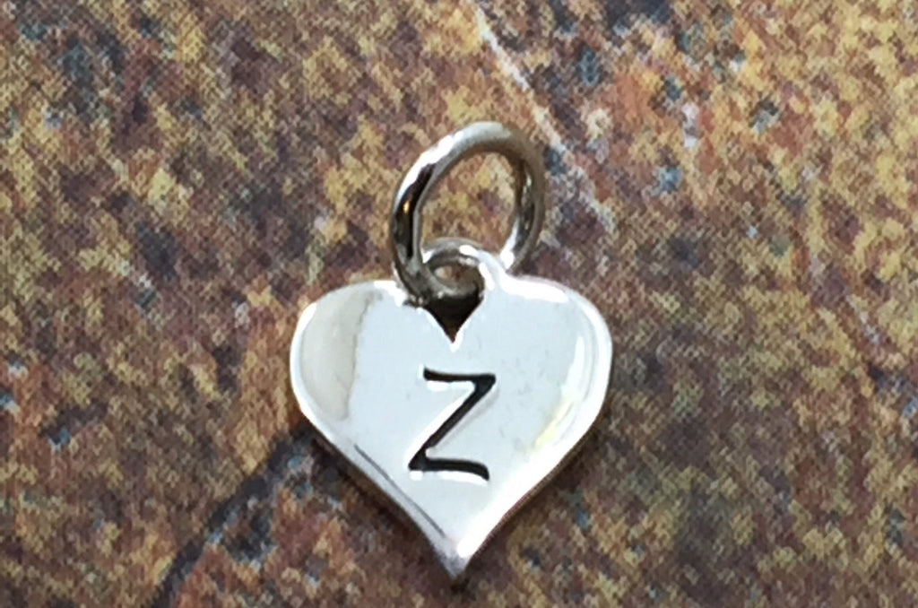 Initial Charm, Letter Charm, Z Charm, Letter Z Charm, Heart Letter Charm, Alphabet Charm, Sterling Silver Charm