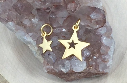 Mother and Child Star Charms, Mother Child Star Cut Out Set, Star Charm, Gold Plated Sterling Silver Star Charms