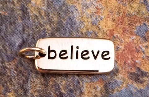 Believe Charm, believe Tag, Believe Pendant, Bronze Believe Charm, Bronze Charm, Bronze Pendant, Word Charms, PB0133