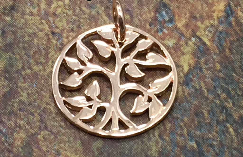 Tree of Life Pendant, Tree of Life Charm, Rose Gold Plated Sterling Silver Tree of Life, Family Tree Pendant, Family Tree Charm, Small