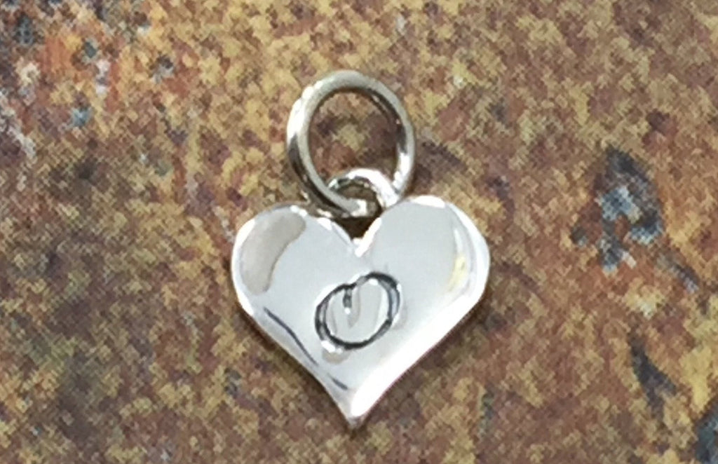 Initial Charm, Letter Charm, O Charm, Letter O Charm, Heart Letter Charm, Alphabet Charm, Sterling Silver Charm