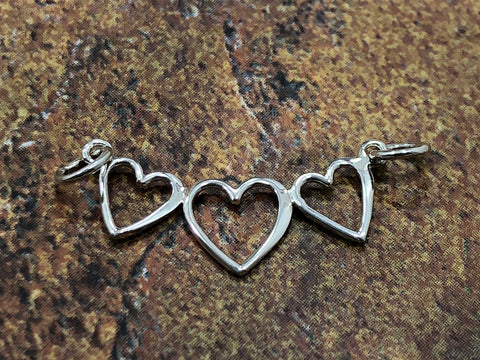 Sterling Silver Charm, Heart Charm, Three Heart Charm, Three Hearts Link, Silver Heart Charm, Heart Cut Out Charm, Sterling Silver Charm