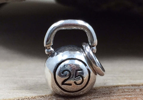 Kettlebell Charm, Fitness Charm, Weightlifting Charm, Exercise Charm, Sterling Silver, TINY CHARM, PS01703