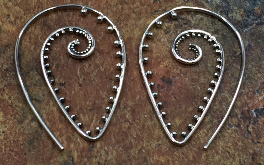 Ear Wires, Sterling Silver Ear Wires, Earwires, Earring Components, Pointed Spiral Ear Wires, Geometric, 1 Pair, PS01673