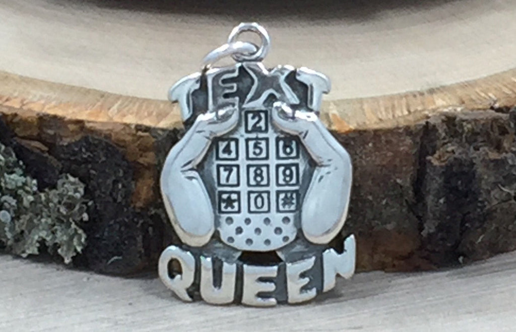 Text Queen Charm, Text Charm, Texting Charm, Sterling Silver Charm, PS3188