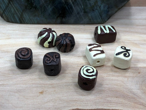 10 Chocolate Beads, Candy Beads, Peruvian Ceramic Beads, Ceramic Beads, Chocolate Charm, Chocolate Pendant, Food Bead, Peruvian Beads
