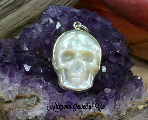 Skull Charm, Mother of Pearl Skull Pendant, Skull Pendant, Sterling Silver Skull Charm, Bones, Skeletons, PS01654