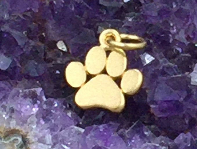 Paw Print Charm, Paw Print Pendant, Flat Paw Print Charm, Animal Lover Charm, Dog Lover, Gold Plated Sterling Silver Charm, Tiny, PG0170