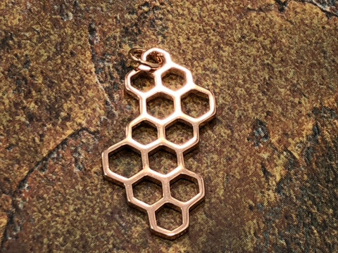Rose Gold Plated Honeycomb Charm, Honeycomb Charm, Honeycomb Pendant, Bee Pendant, Honeybee Charm, Bee Keeper Charm, Environment Charm