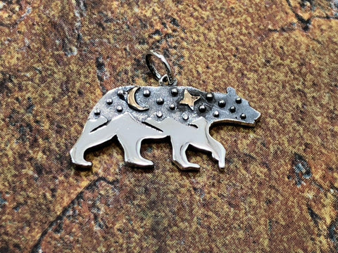Bear Charm, Bear Charm with Mountains and Bronze Moon, Sterling Silver Charm, Realistic Bear Charm, California Charm, Flat Bear Charm