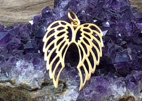 Angel Wings Charm, Angel Wings Pendant, Gold Plated Bronze Angel Wings, Bird Wings Charm, Openwork Angel Wings Charm