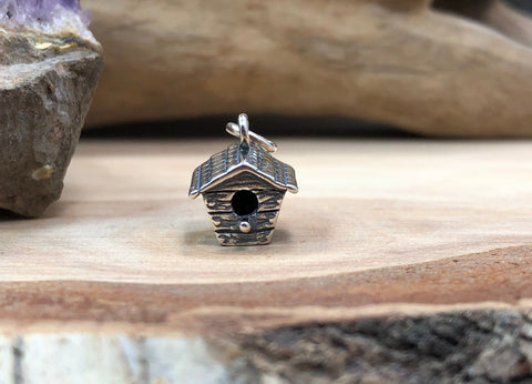 Sterling Silver Birdhouse Charm, Birdhouse Charm, Bird Charm, Bird Pendant, Bird Watcher Charm, Birdhouse Pendant, Jewelry Supplies