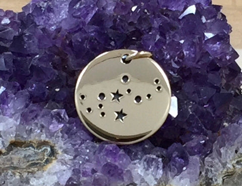 Zodiac Charm, Virgo Charm, Zodiac Constellation Charm, Natural Bronze Charm, Necklace Charm, Necklace Pendant
