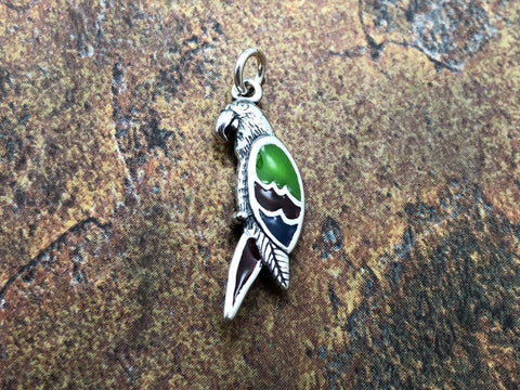 Parrot Charm, Parrot Pendant, Bird Charm, Bird Lover, Sterling Silver Charm, Jewelry Supplies