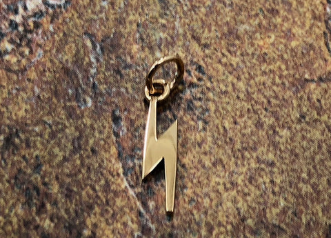 Lightening Bolt Charm, Lightening Charm, Weather Charm, Natural Bronze Charm, Witches and Wizards Charm, TINY Charm