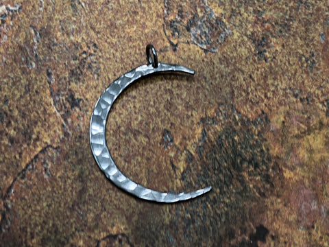 Crescent Moon Charm, Moon Charm, Moon Pendant, Celestial Charm, Black Sterling Silver, Necklace Charm, Necklace Pendant