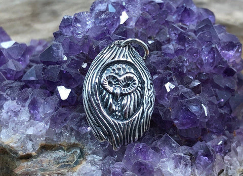 Sterling Silver Owl Charm, Sterling Silver Owl Charm in Tree, Owl Pendant, Jewelry Supplies, Night Owl Charm, Halloween Charm