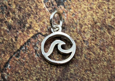 Wave Charm, Waves Charm, Ocean Charm, Ocean Pendant, Beach Charm, Sterling Silver, SMALL, TINY
