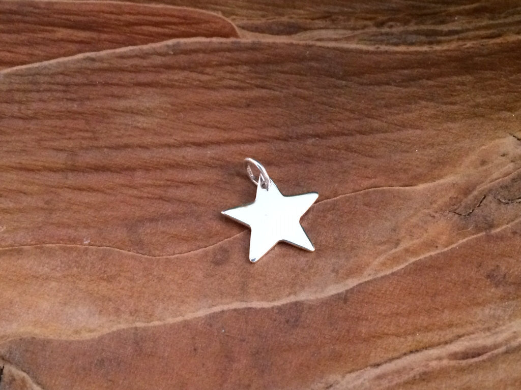 Star Charm, Star Pendant, Sterling Silver Star, Star Stamping Blank, Celestial Charm, Celestial Pendant, PS0160