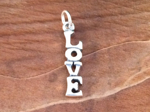 Love Charm, Love Pendant, Sterling Silver Love Charm, Sterling Silver Love Pendant, Vertical Love Charm, Valentine's Charm, PS0201
