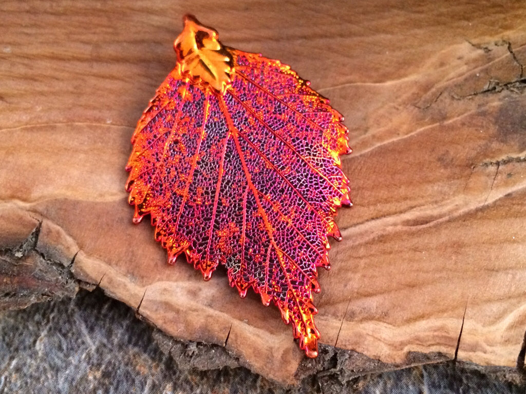 Birch Leaf Pendant, Copper Dipped Birch Leaf Pendant, Copper Birch Leaf, Leaf Pendant, Nature Pendant, PC1202