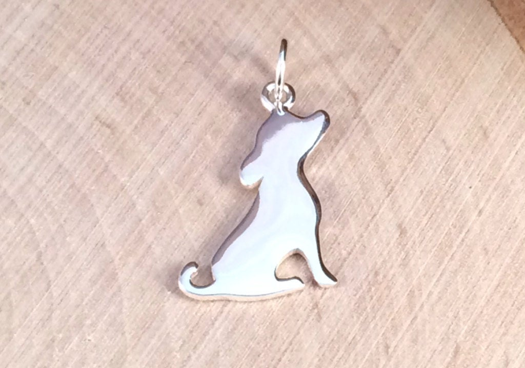 Silhouette Puppy Charm, Puppy Charm, Sterling Silver Puppy Charm, Animal Lover Charm, Animal Lover Pendant, Animal Charm, PS0182