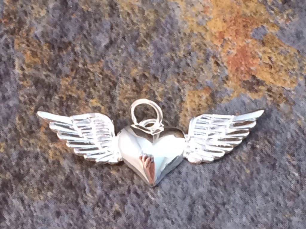 Heart With Wings Charm, Heart with Wings Pendant, Heart Charm, Heart Pendant, Silver Heart Charm, Silver Heart Pendant