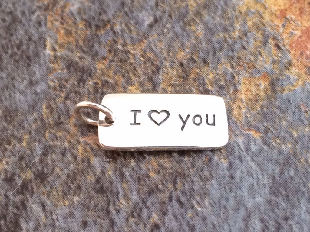 I Love You Charm, I Love You Pendant, I Love You Tag Charm, Love Charm, Love Pendant, Sterling Silver, Word Charm, Valentines Day