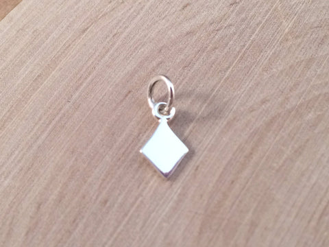 Diamond Charm, Diamond Suit Charm, Diamond Pendant, Gamble Charm, Cards Charm, Card Game Charm Sterling Silver Charms, TINY, PS01116
