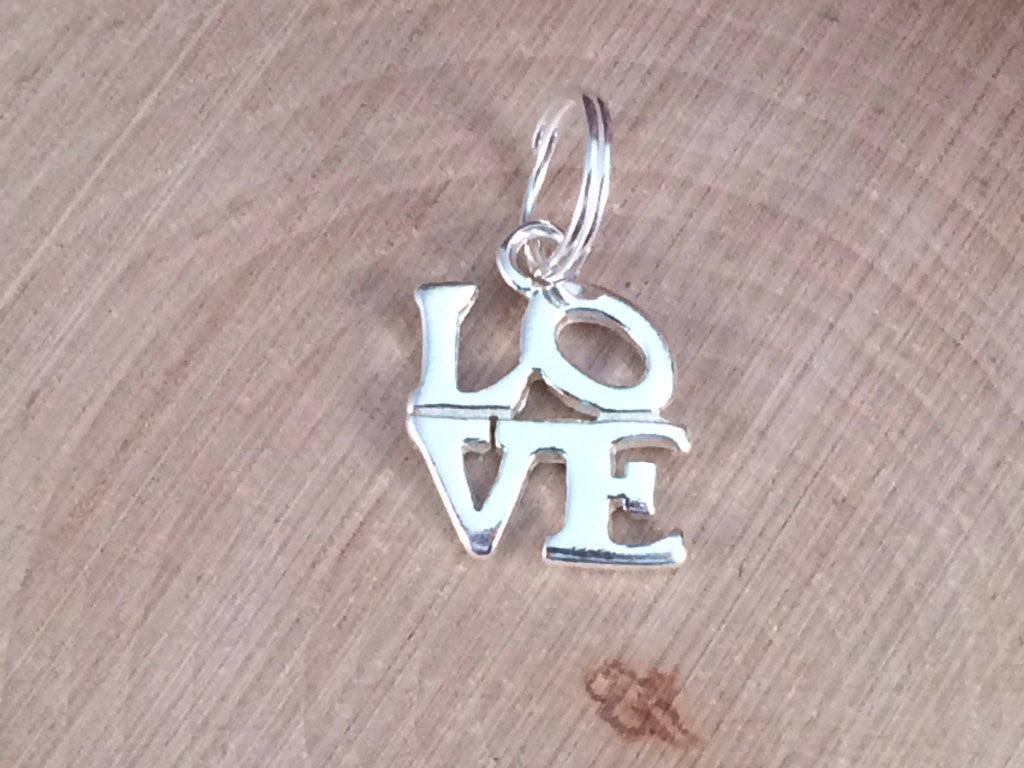 Love Charm, Love Pendant, Sterling Silver Love Charm, Sterling Silver Love Pendant, Openwork Love Charm, Valentine's Charm