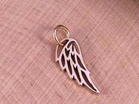 Angel Wing Charm, Angel Wing Pendant, Bronze Angel Wing Charm, Feather Charm, Feather Pendant, Bronze Angel Wing Pendant, PB0114