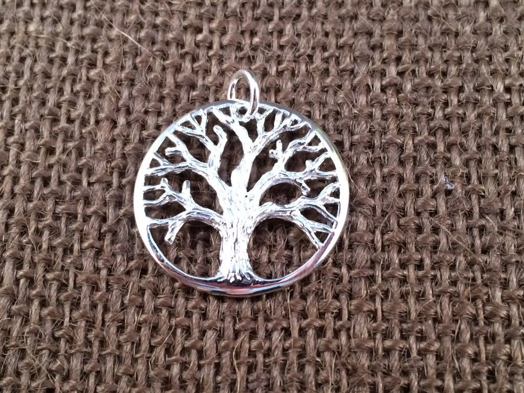 Tree of Life Pendant, Tree of Life Charm, Family Tree Pendant, Family Tree Charm, Silver Plated Tree of Life, Large Size, PSP0169