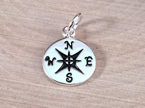 Compass Charm, Silver Compass Pendant, Silver Charm, Silver Plated Pendant, Necklace Charm, Nautical Charm, Nautical Pendant, PS0113