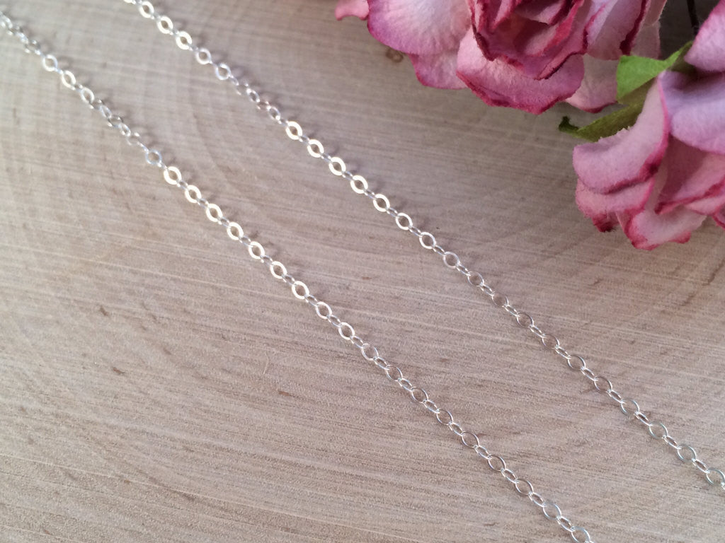 Necklace Chains, Replacement Chains, Sterling Silver Chains, Cable Chain, Delicate Chain, Sterling Silver, 20 Inch Chain