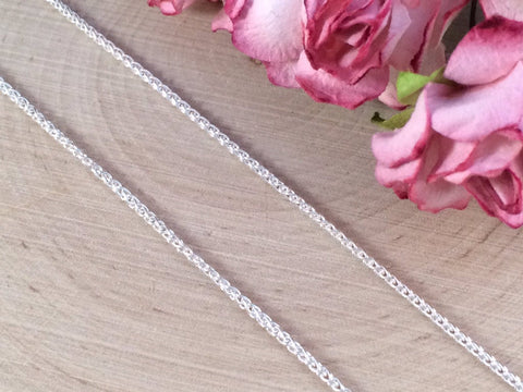 Necklace Chains, Rope Chain, Replacement Chains, Sterling Silver Chains, Wheat Spiga Chain, Sterling Silver,18 Inch Chain, CS180202