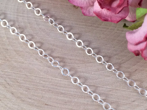 Necklace Chains, Replacement Chains, Sterling Silver Chains, Cable Chain,  Loop Chain, Necklaces, Sterling Silver, 20 Inch Chain, 2.3mm