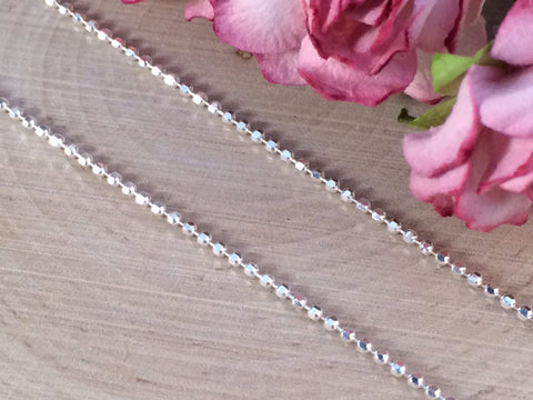 Necklace Chains, Replacement Chains, Sterling Silver Chains, Ball Chain, Bead Chain, Diamond Cut Chain, Sterling Silver, 18 Inch Chain