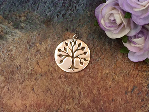 Tree of Life Pendant, Cut Out tree Pendant, Tree of Life Charm, Family Tree Charm, Sterling Silver Tree of Life, PS01345