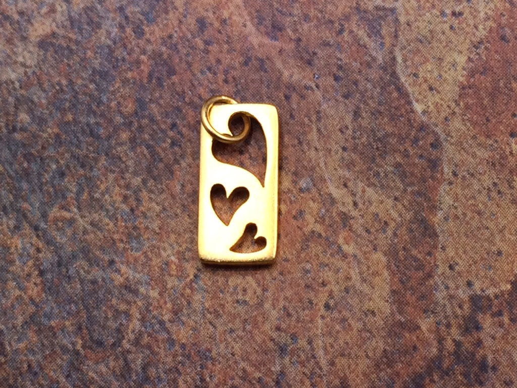 Heart Charm, Heart Pendant, Cut Out Heart Charm, Three Hearts Charm, Gold Heart Charm, Heart Cut Out Charm, Circle Heart Charm