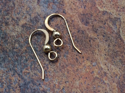 Ear Wires, Gold Ear Wires, Earwires, Earring Components, Jewelry Making Supplies, Jewelry Findings, 1 Pair