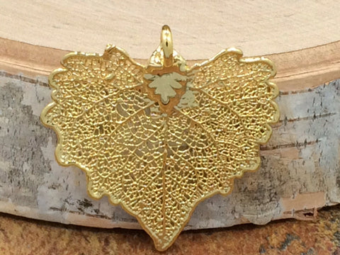 Cottonwood Leaf Pendant, Gold Dipped Cottonwood Leaf Pendant, Gold Cottonwood Leaf, Leaf Pendant, Nature Pendant, PG1202