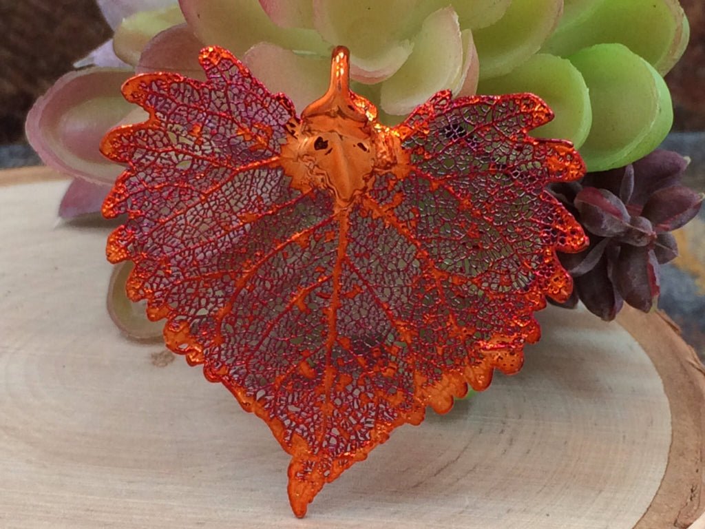 Cottonwood Leaf Pendant, Copper Dipped Cottonwood Leaf Pendant, Copper Cottonwood Leaf, Leaf Pendant, Nature Pendant, PC1204
