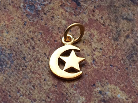 Moon and Star Charm, Moon Pendant, Celestial Charm, Moon and Star Pendant, 24K Gold, Necklace Charm, Necklace Pendant, PG0139
