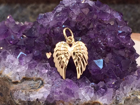 Angel Wings, Double Angel Wings Charm, Angel Wings Charm, Angel Wings Pendant, Bronze Angel Wings Charm, Feather Charm, PB01155